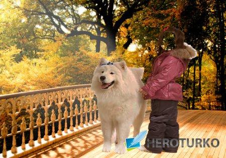Шаблон для фотошопа – Девочка с собакой