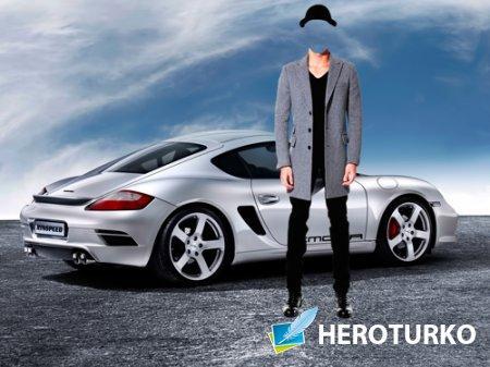 Шаблон для фотошопа – Мужчина в шляпе возле Порше