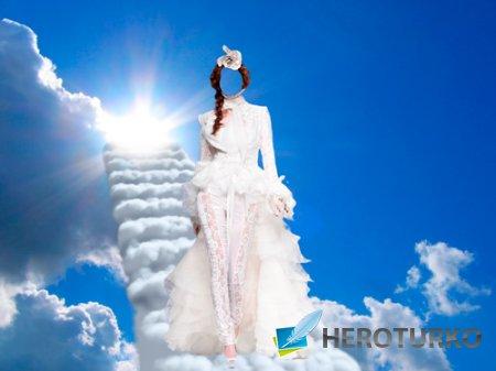 Шаблон для фотошопа – Девушка с небес