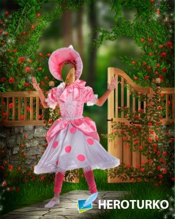 Шаблон для фотошопа – Девочка в розовом платье
