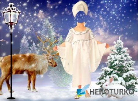 Шаблон для фотошопа – Зимняя принцесса