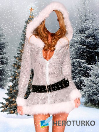 Шаблон для фотошопа – Девушка в зимнем лесу в шубе