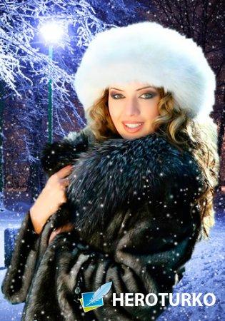 Шаблон для фотошопа – Зимний вечер