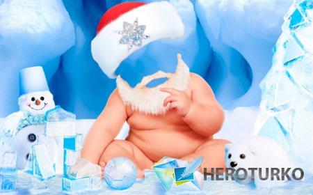 Шаблон для фотошопа – Малыш в костюме Санты