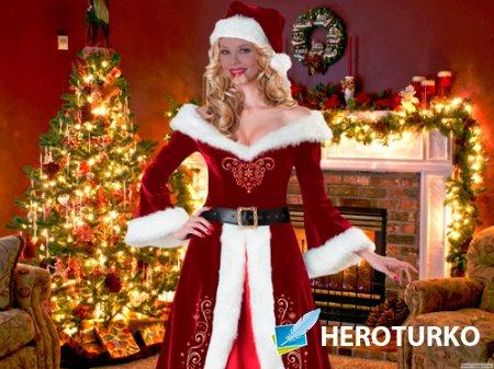 Шаблон для фотошопа - Рождественская Снегурочка