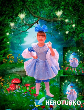 Шаблон для фотошопа - Девочка в красивой сказке