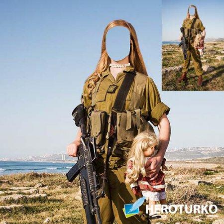 Женский шаблон - Девушка солдат