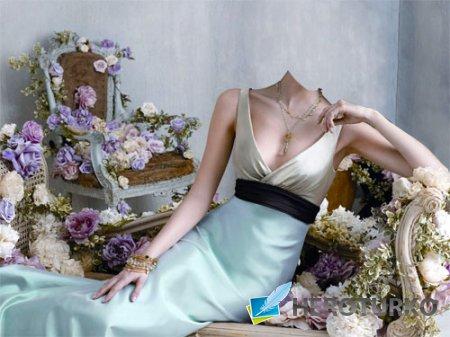 Шаблон женский - В великолепном платье в центре цветов