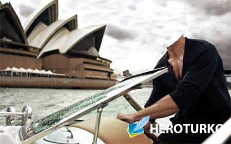 Шаблон для фотомонтажа - Катание на катере в Сидней