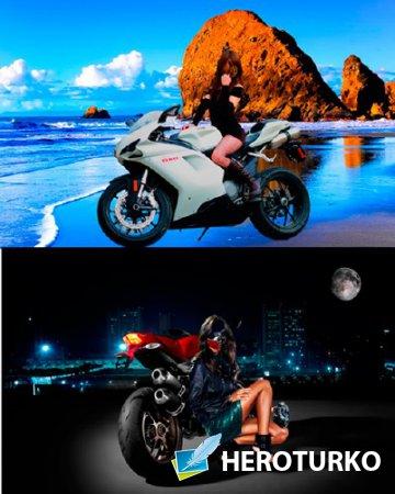 Шаблоны для фотошопа  - Девушки возле мотоциклов