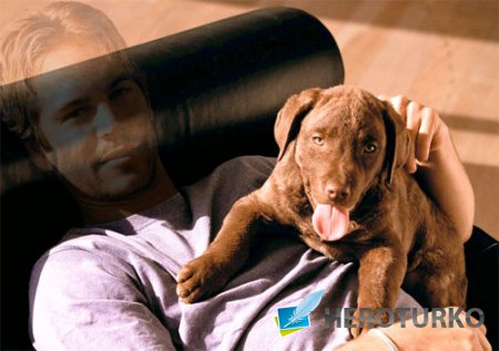 Мужской шаблон - Фотография с классной собачкой