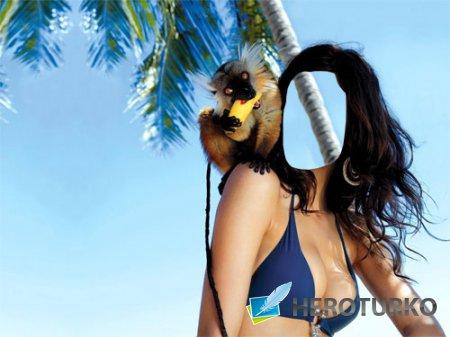 Женский шаблон - Отдых на островах с маленьким лемуром