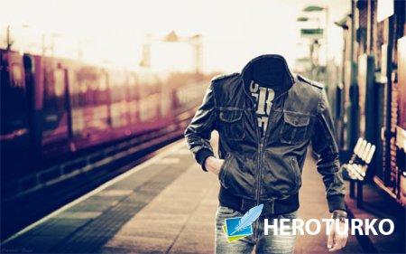 Шаблон для photoshop - Пройтись по перрону вокзала