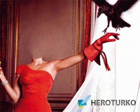 Шаблон для фото - В красном платье с черным вороном