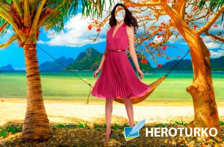 Шаблон для фотошопа  - Рай на берегу океана
