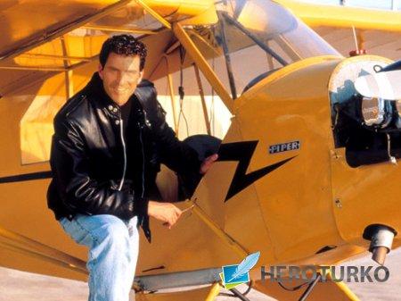 Шаблон мужской Пилот брюнет самолета