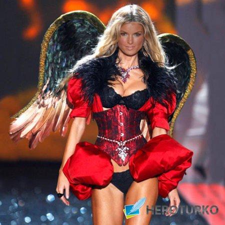 Шаблон для фотомонтажа - Красивая блондинка на показе с крыльями