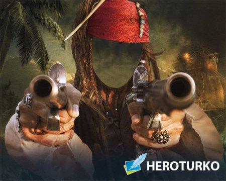 Шаблон psd - Настоящий морской бандит с двумя пистолетами