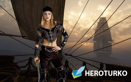 Шаблон для фотошопа - Истинная пиратка с оружием