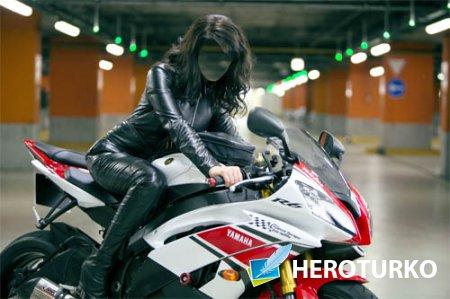 Женский шаблон - Девушка на хорошем мотобайке в кожаном костюме