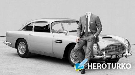 Шаблон для фотошопа - Рядом с ретро авто
