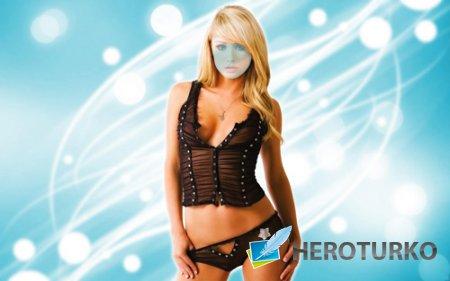 Шаблон для фотомонтажа - Красивая блондинка на голубом фоне