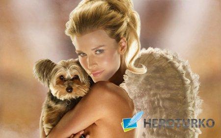 Шаблон для photoshop - Блондинка с крыльями ангела и собакой