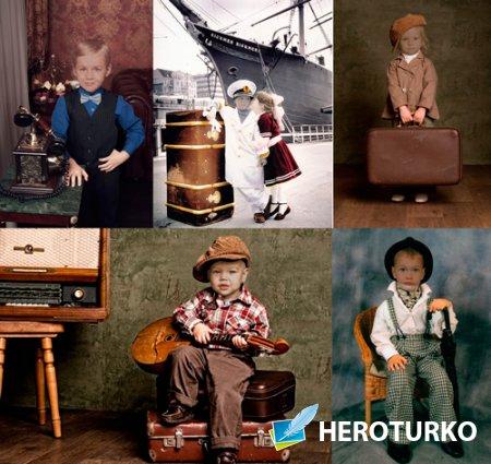 Шаблоны для фотошопа  - Дети в ретро костюмах