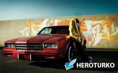 Шаблон для фото - Возле автомобиля Монте Карло