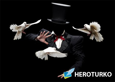PSD шаблон - Фокусник-иллюзионист с голубями