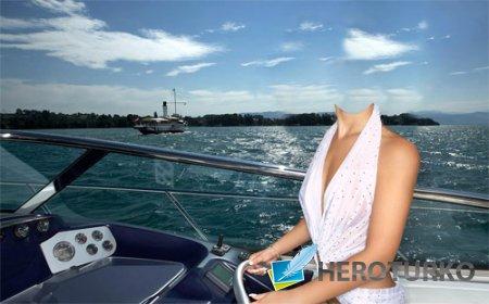 Шаблон для photoshop - Девушка на прогулке в катере