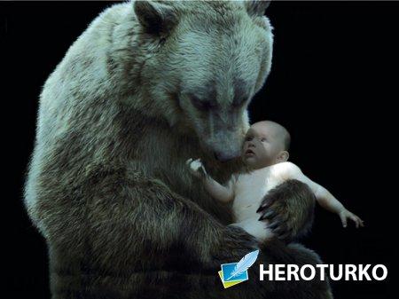 Шаблон детский - Младенец и медведь
