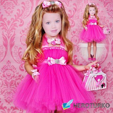 Детский шаблон - Модница в нарядном розовом наряде