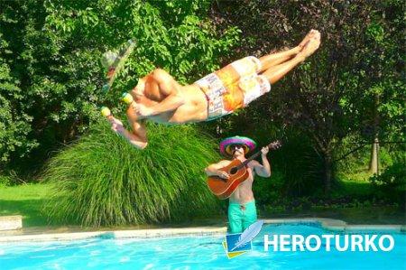 Шаблон для фотошопа - Веселые музыканты в бассейне