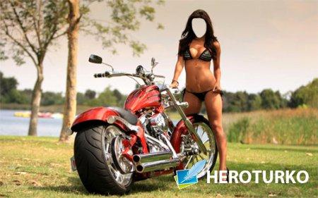 Шаблон женский - Роскошная девушка возле мотоцикла