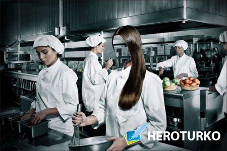 Девушка повар профессиональной кухни - шаблон для девушек