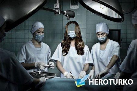 Шаблон psd женский - Врач хирург