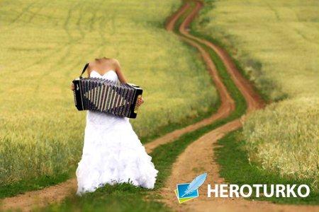 Женский шаблон - В свадебном платье в поле, с баяном