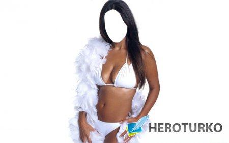 Шаблон для фотошопа - Брюнетка с белоснежными перьями в белом купальнике