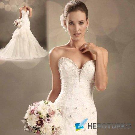 Шаблон для фото - Милая невеста в свадебном платье