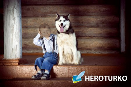 Шаблон детский - Мальчик с красивой собакой