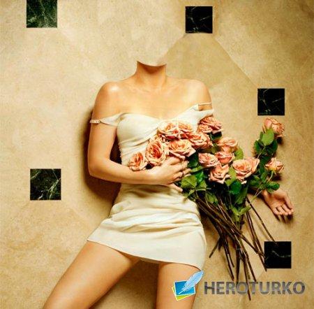 Шаблон для фото - На полу с цветами