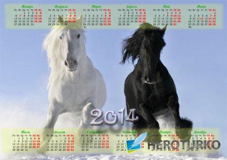 Красивый календарь - Красивые лошади