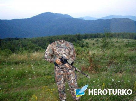 PSD шаблон - Снайпер в камуфляже