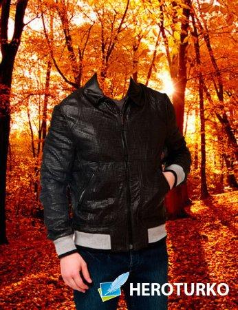 Шаблон для фотошопа – Мужчина в осеннем лесу