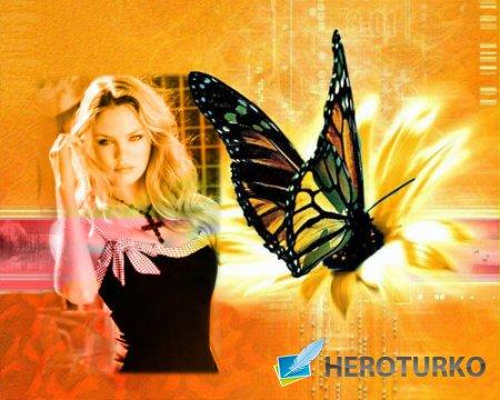 Рамка для фотошопа - Компьютерная бабочка