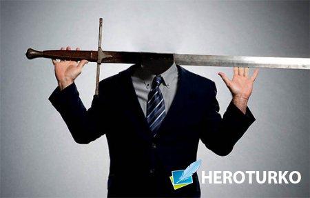 Шаблон psd - В костюме с мечом