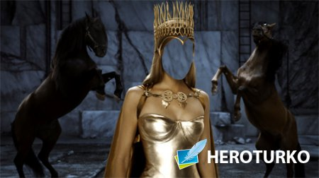 Шаблон для фотомонтажа - Принцесса с короной на фоне лошадей
