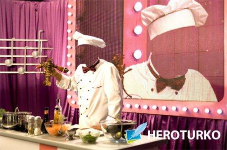 Шаблон для фото - Повар готовит больших омаров на телевидение