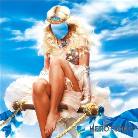 PSD шаблон - Милая девушка с короной на небе